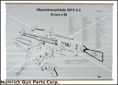 "Exploded View Chart, MP5A2, German (B&W, 37"" High x 46-1/2"" Wide)"