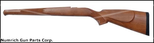 Stock, Sporter, Checkered Hardwood, RH Cheekpiece, Schnabel & Rifle Pad