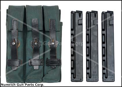 Three Pocket Pouch (Canvas-Used)w/ Three New 9mm 30 Round Straight Magazines - -