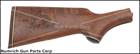 Stock, Walnut, Pistol Grip, Rifle Pad, Engraved Horse Rider/Covered Wagon Scene
