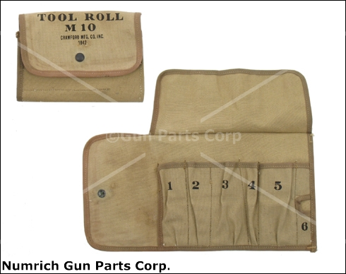 M10 Tool Roll, Khaki Canvas, WWII, Marked Crawford Mfg. Co. Inc. 1942, Unissued