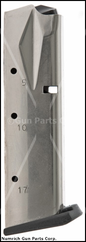 Magazine, 9mm, 17 Round, New, Nickel (Flush-Fit; Mec-Gar)
