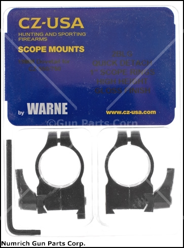 "Scope Rings, Warne, 1"", High, Gloss Black, Factory Original, New"