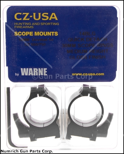 Scope Rings, Warne, 30mm, Medium, Gloss Black, Factory Original, New