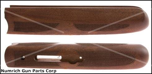 "Forend,12 Ga., Cut for 3 1/4"" Iron & 3 1/2"" Catch Plate, Satin Checkered Walnut"