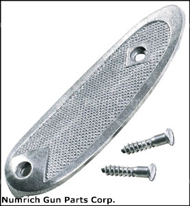 Buttplate w/ Screws, Checkered Steel