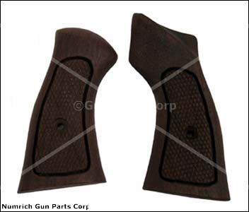 Grips, Checkered Hardwood w/ Thumbrest -Frame Grip Size Dimension 3.275&quot; x 1.7&quot;