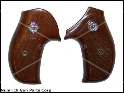 Grips, .38 Terrier Model, Chckr'd Walnut, Round Butt-New, Sile Mfg,Rt Hand Grips
