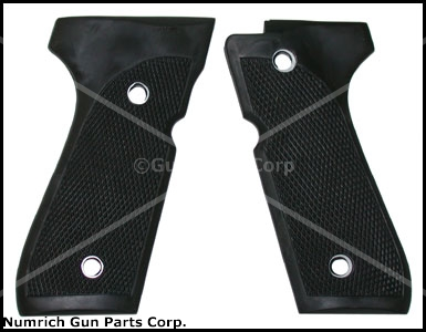 Grips, Molded Black Checkered Rubber w/ Metal Inserts. New, Screws Not Included.