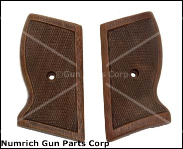 Grips, Single Screw Type, Checkered Brown Plastic