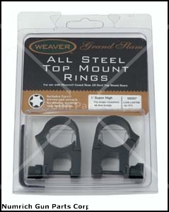 Top Mount Rings, Weaver Grand Slam, 1'' Super High, All Steel Blued, Pair