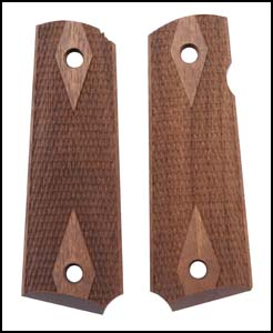 Grips, Walnut, Laser Checkered w/ Diamond Pattern & Border, Replacement, New