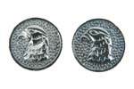 Falcon Head Grip Medallion Set, Silver
