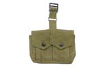 Stripper Clip Pouch, Two Pocket, O.D. Green Webbing w/ Hardware, Unissued