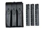 Three Pocket Pouch (Leather) w/ Three New 9mm 30 Round Straight Magazines - -