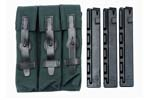 Three Pocket Pouch (Canvas) w/ Three New 9mm 30 Round Straight Magazines - -