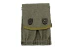 Dual Magazine Pouch, OD Canvas, French Military, New