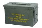 Ammo Can, .50 Cal - OD Steel w/ Hinged Lid & Markings, Very Good to Exc. Cond