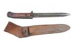 Bayonet w/ Leather Scabbard, Original, Used Good - -