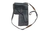 Flare Gun Pouch, Black Leather, East German, Used, Fair to Good Cond.