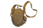 Drum Pouch, Khaki Canvas, Missing Front Leather Barrel Closure,Used Fair to Good