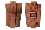 Ammo Pouch w/ Ring, Single Pocket, Brown Leather, Original, WWI Era