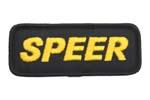 "Garment Patch, Speer Ammunition, 4"" x 1-1/2"", Yellow/Black, New"