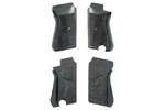 Grips w/ Hardware, Wraparound, Grooved Black Plastic, Non-Thumbrest, VG to Exc