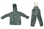 Finnish Rainsuit Set w/ Hooded Jacket & Suspender Pants (No Gloves), Size Medium