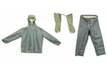 Finnish Rainsuit Set w/ Hooded Jacket & Draw String Pants & Gloves, Size Medium