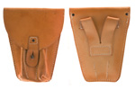 "Holster, Orig., Tan Leather w/ Strap & Stud Flap Closure & 2-1/2"" Belt Loops"