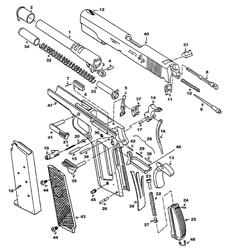 1911 Pistol Parts Diagram Wiring Diagram Schematic