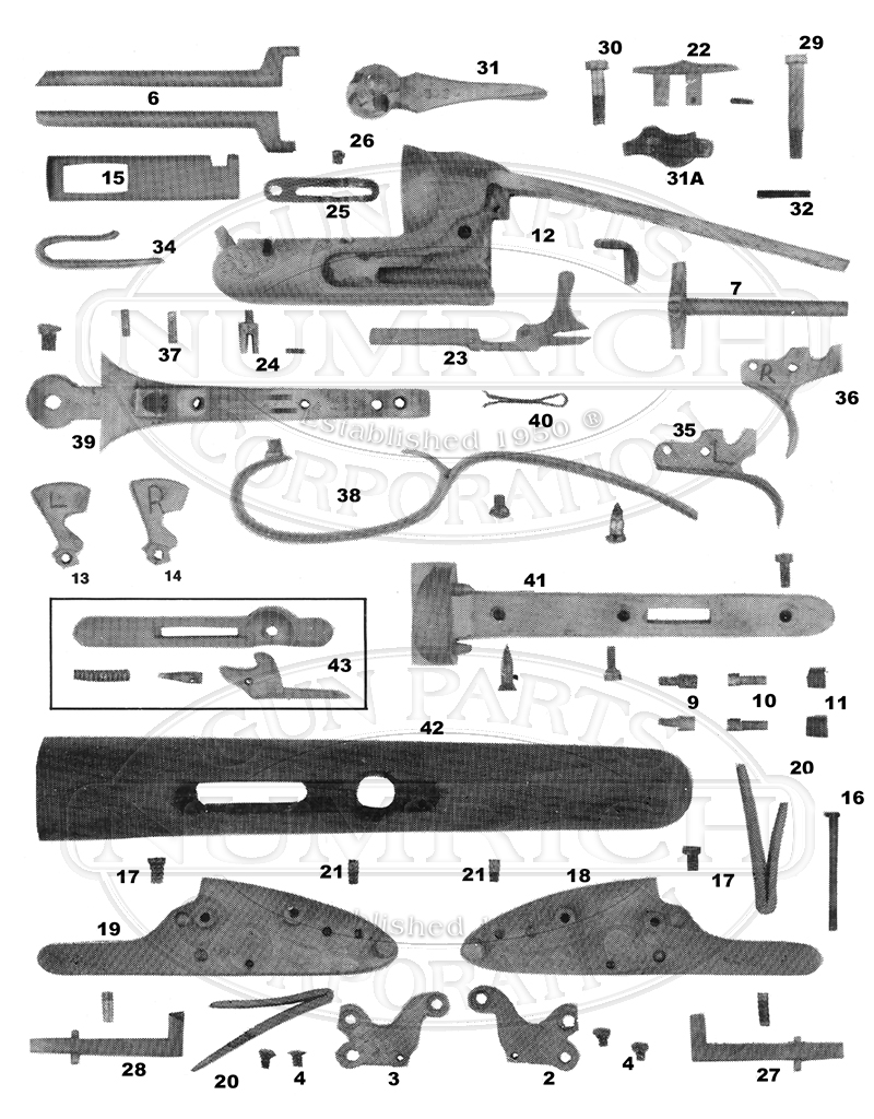 A.J. Aubrey Hammerless Double Barrel gun schematic