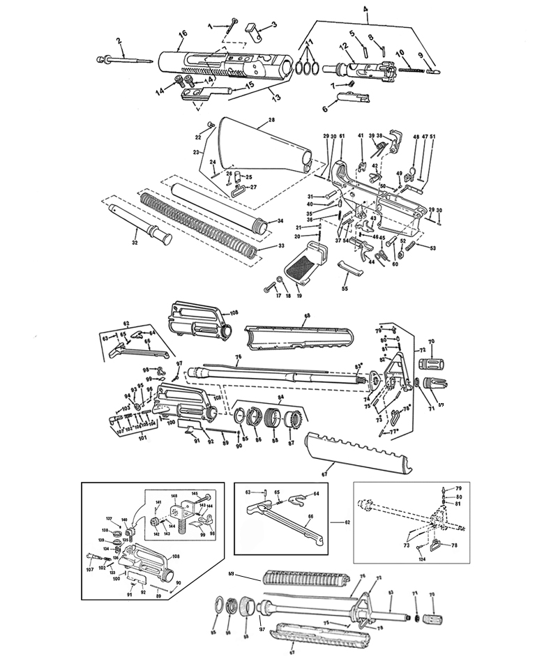 M16 PARTS LIST gun schematic