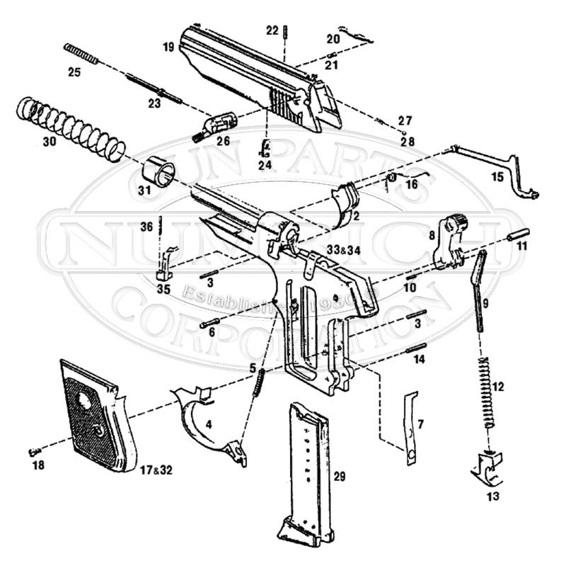 American Arms Auto Pistols PX-25 gun schematic