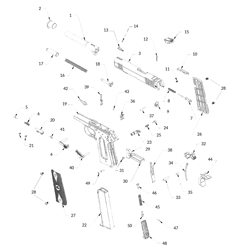 Rock Island Armory (Made by Armscor) 1911A .380 Pistol gun schematic