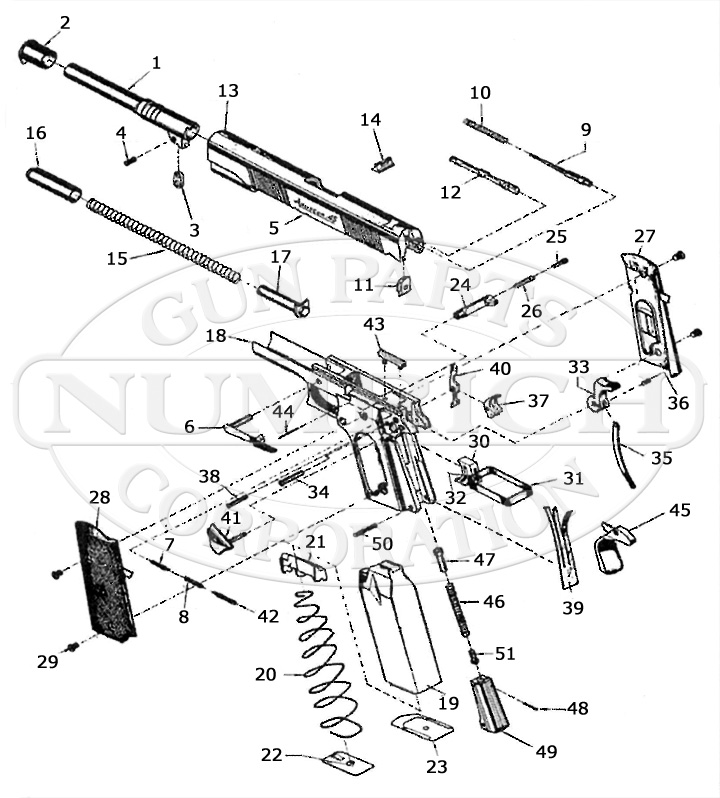 Armscor (Of The Philippines) Auto Pistols 1911 gun schematic