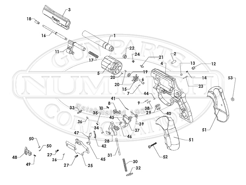 Rock Island Armory (Made by Armscor) 200 Revolver gun schematic
