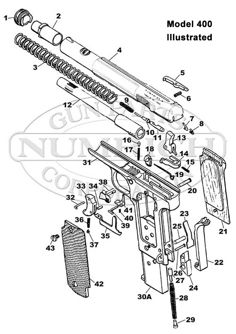 Astra Auto Pistols 400 9mm gun schematic