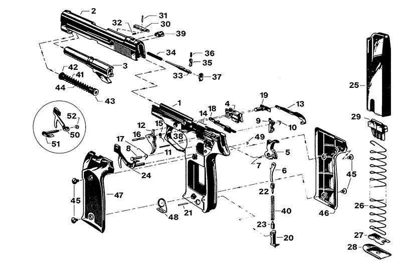 Astra Auto Pistols A80 gun schematic