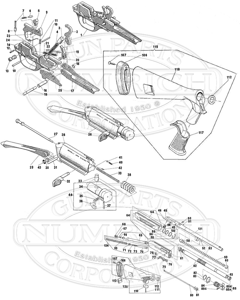 Benelli M1 Super 90 Field Parts And Schematic Numrich M2 Wiring Diagram Shotguns Semi Auto Gun