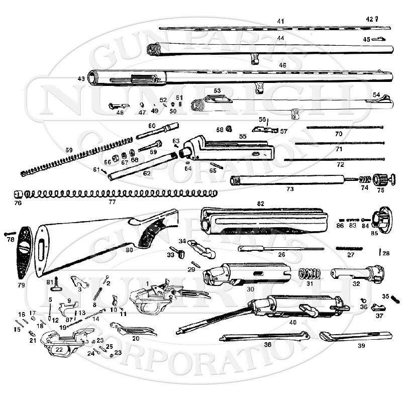 Benelli Shotguns Semi-Auto Shotguns SL121 gun schematic
