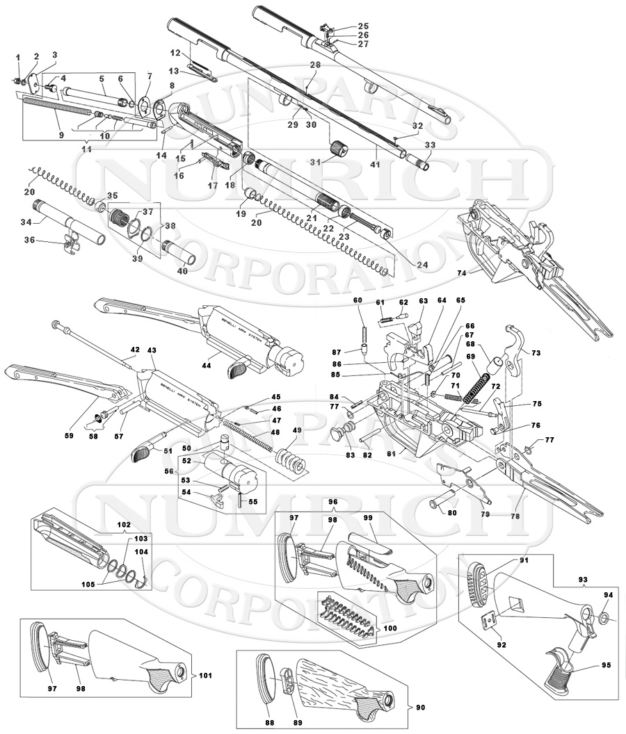Benelli Super Black Eagle 2 Parts List Gun Corp Schematics Shotguns Semi Auto Ii Schematic
