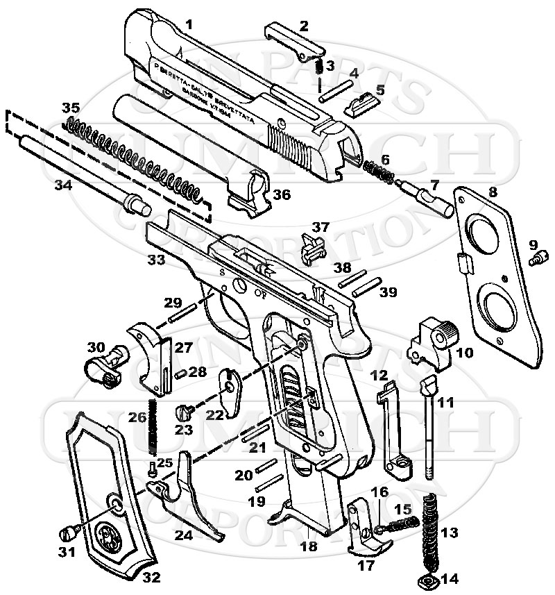 beretta 1934 parts and schematic