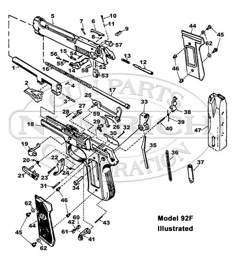 beretta 92s parts and schematic