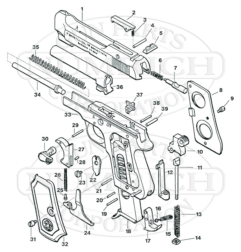 Beretta Auto Pistols 948 gun schematic