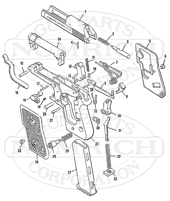 Beretta 950 Minx Parts Schematic