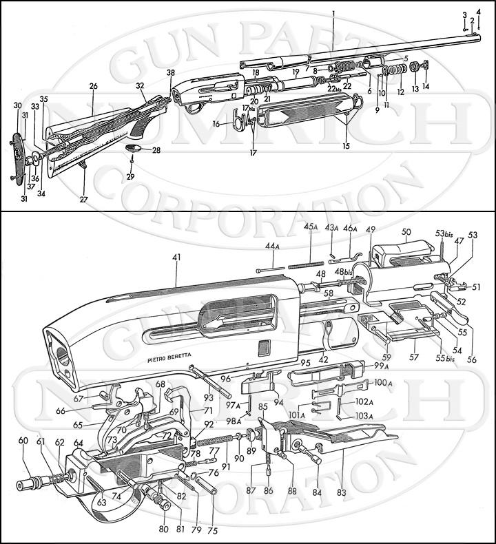 Beretta Shotguns A301 gun schematic