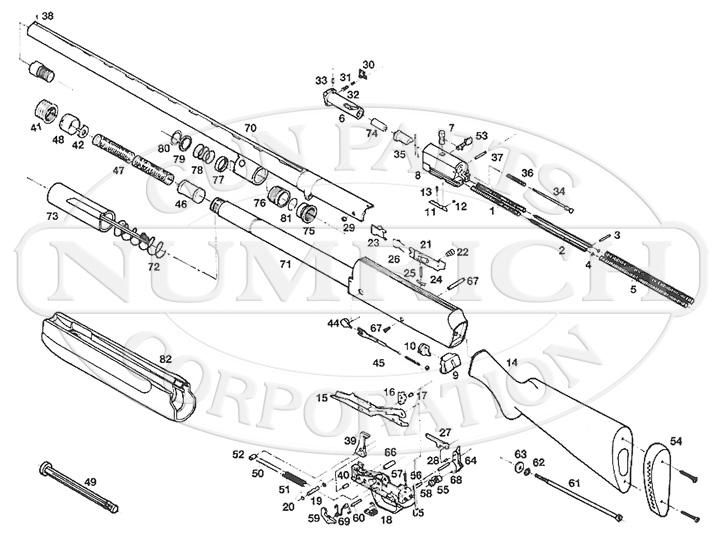Browning Shotguns A-500 Gas Operated gun schematic