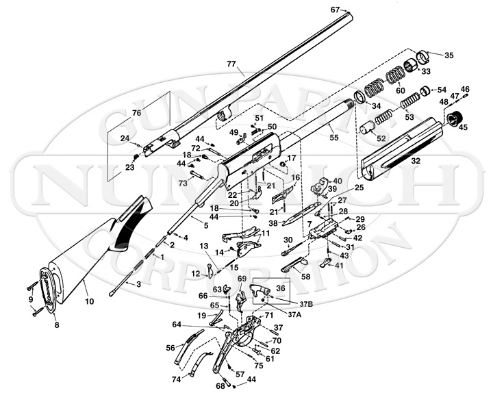 Browning Shotguns Auto 5 Parts List gun schematic